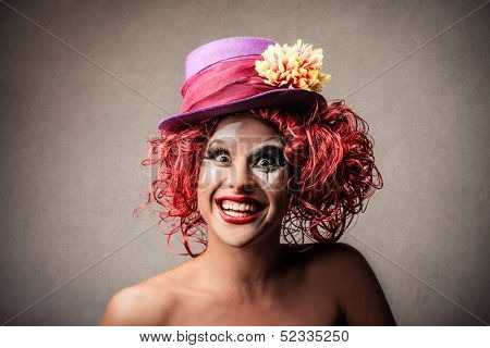 portrait of a clown laughing