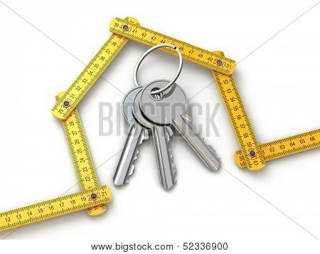 House from yardstick and bunch of keys.  3d