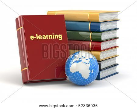 E-learning. Books and earth on white background. 3d
