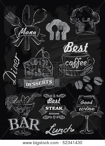 menu set on chalkboard