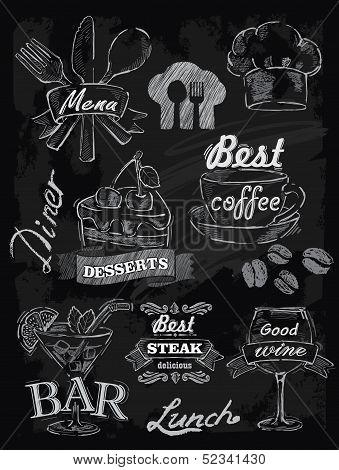 menu set on chalkboard