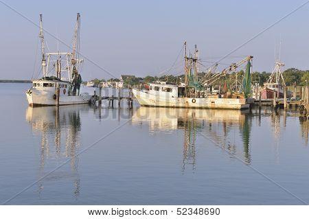 Shrimp boats on the Bayou, Texas USA
