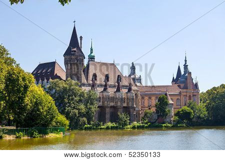 Vajdahunyad Castle lake view from Budapest, Hungary poster