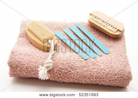 Nail file with hand brush