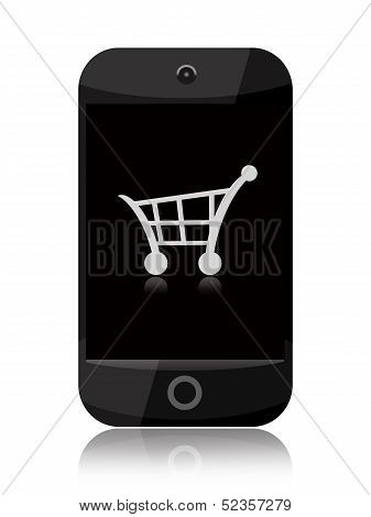 Smartphone with shopping cart