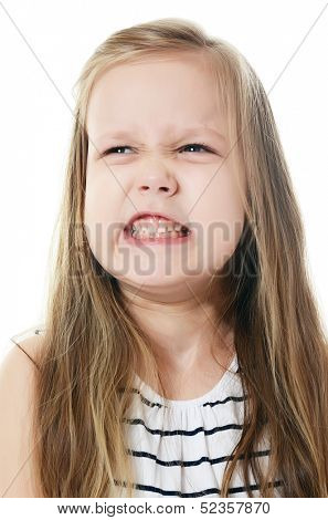 The little girl with emotions on the face background