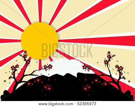 Japan background with sun and flower. vector design poster