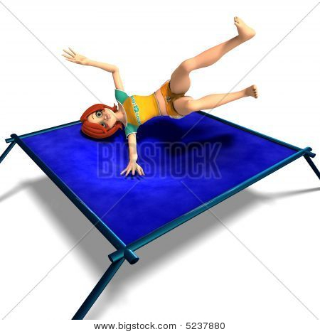 rendering of a cartoon girl who jumps on a trampoline. With Clipping Path and shadow over white poster