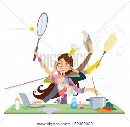 Busy Woman Doing Many Things At The Same Time