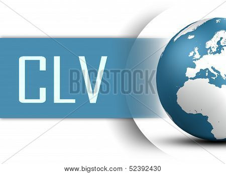 Customer Lifetime Value concept with globe on white background poster