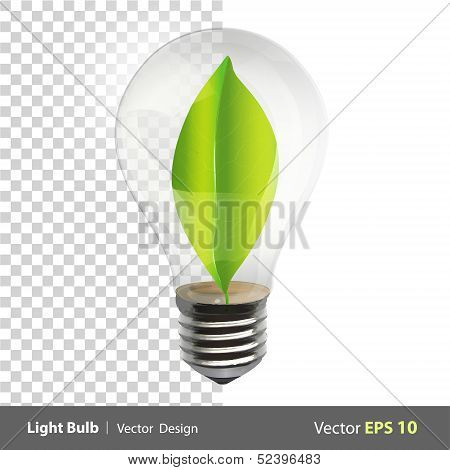 Bulb With A Green Leaf Inside. Realistic Vector Design