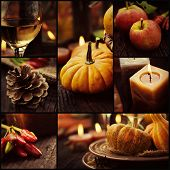 Restaurant series. Collage of autumn place setting. Thanksgiving dinner. Fall season fruit pumpkins plates wine and candles. Thanksgiving dinner poster