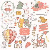 Vintage love collection: flowers, labels, laurel, hearts, birds, cats, rabbit, air-balloon, bicycle. Graphic set in retro style poster