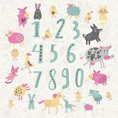Learn to count concept set. All numbers and funny cartoon animals: cat, dog, cow, horse, rabbit and others in vector poster