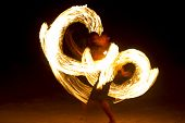 Photo of an amazing fire performance at night on Koh Tao Island Thailand poster