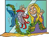 Cartoon vector illustration of Fish in aquarium and girl poster