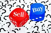 Sell or Buy word on question mark background poster