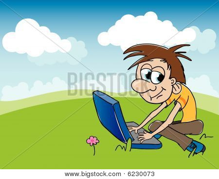 Boy And Computer