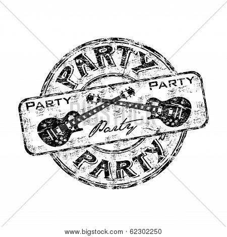 Party grunge rubber stamp