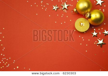 Christmas Holiday Background With Stars, Balls  And Candle