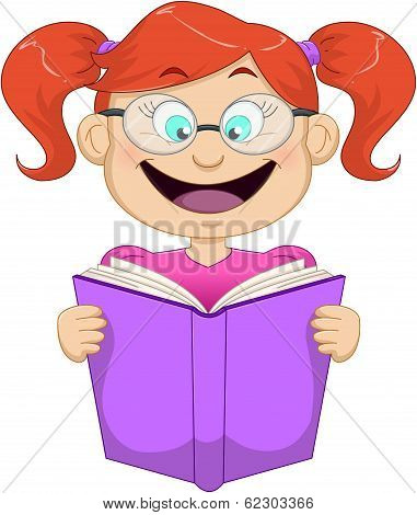 Girl With Glasses Reading From Book