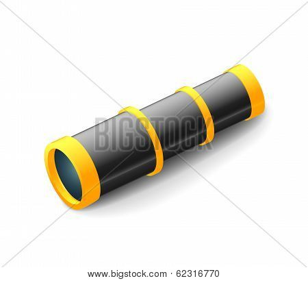 Vintage spyglass, black and white color, closeup isolated on white