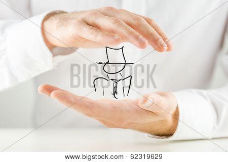 Man Holding A Hand-drawn Figure