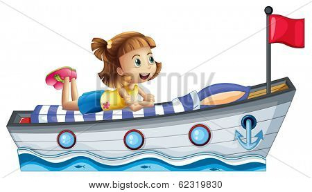 Illustration of a girl lying above the ship with a red flag on a white background