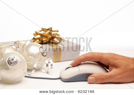 Online Internet Christmas Background Present Beautiful Silver Setting
