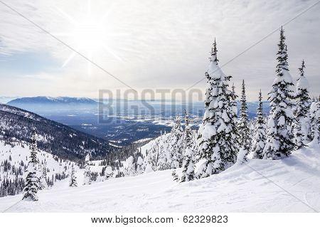 Winter Landscape On Big Mountain In Montana