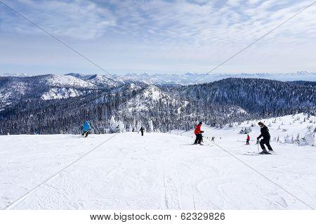 Skiing On The Big Mountain At Whitefish, Montana
