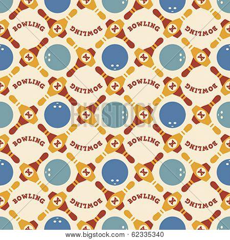Seamless pattern of bowling balls and ninepins. Editable vector illustration.