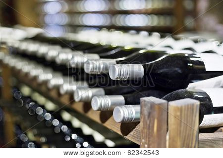 Wine cellar full of wine bottles