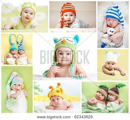 Set Of Funny Babies Or Children Weared In Hats
