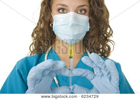 Beautiful Health Care Professional Prepares Needle