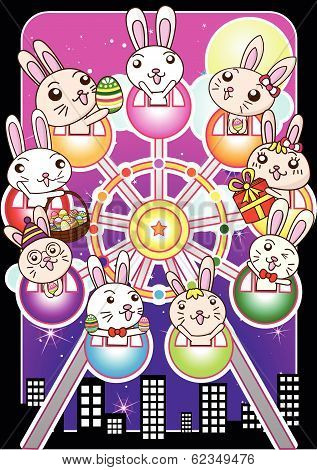 Happy Easter bunny at ferris wheel , building and night