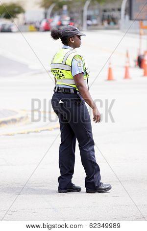 Stock image of Police regulating crowds