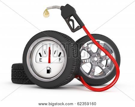 dripping gas pump nozzle with wheel