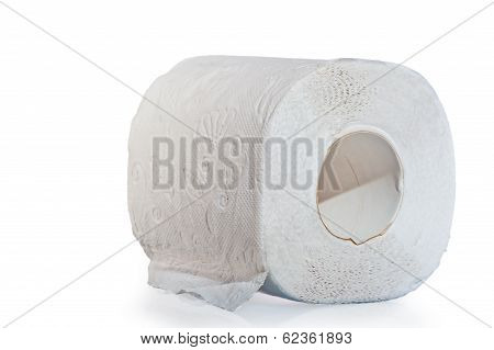 Three Layer Roll Of Toilet Paper On A White Background