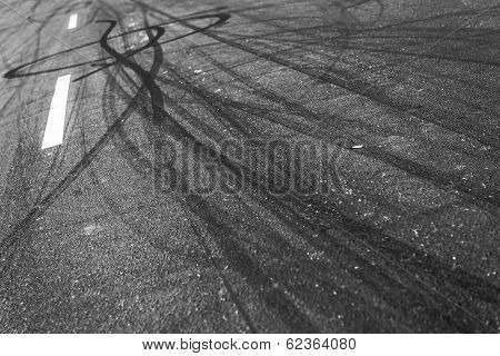 Background with tire marks