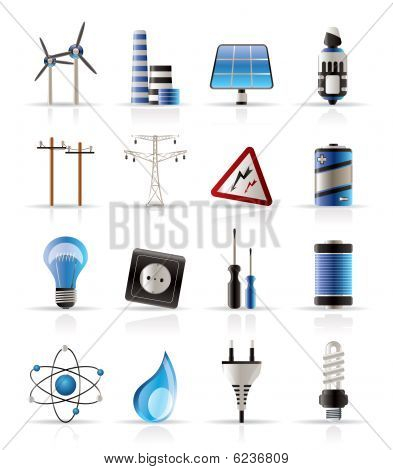 Electricity,  power and energy icons - vector icon set poster