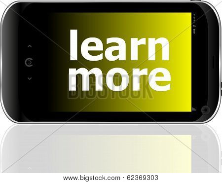 Smart Phone With Learn More Word, Business Concept