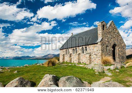 Old Church of the Good Shepherd at lake Tekapo, New Zealand  poster