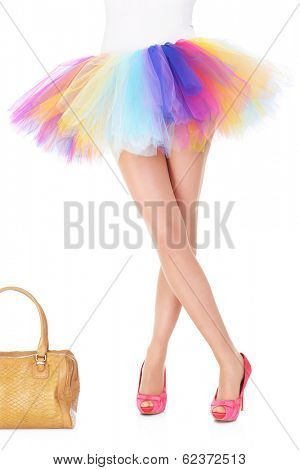 Picture of a sexy legs of a ballerina and bag
