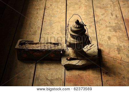 Oily lamp and incense in the monastery Nepal - Buddhism poster