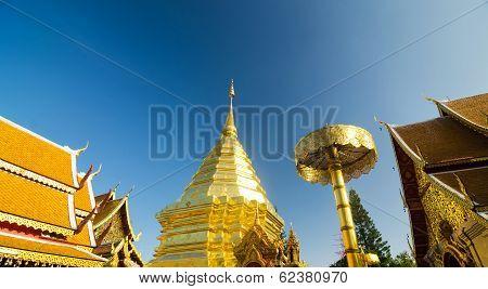 CHIANGMAI, THAILAND - DECEMBER 30, 2013: Golden Pagoda Of Wat Phra Tard Doi Su Thep