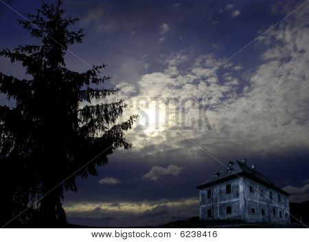 Abandoned house in night