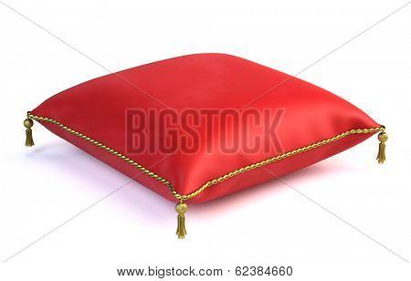 Royal red velvet pillow isolated on white