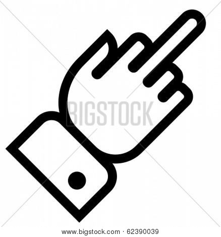 Vector outline icon of hand showing middle finger gesture