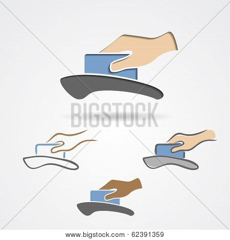 Purchase using a credit card vector symbol